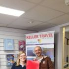 Filippo Rocchi (Emirates) presenting Aisling Murphy (Keller Travel Worldchoice) with 2 x economy tickets to Dubai