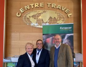 Sally & Joanne from Centre Travel receiving the €100 One4all winning voucher from Clem Walshe