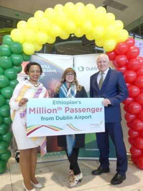 Meseret Tekalign (Ethiopian Airlines), 1 Millionth Passenger Ms. Emer Hall and Cormac O'Connell (Dublin Airport)