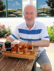 Declan Mescall (Features Editor Travelbiz) sampling some Flying Dog beers