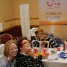 Martina Dowling (TUI) and the girls strike a pose at the TUI Marella Cruise stand