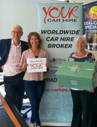 Alan Sparling (GSA Your Car Hire) with Helen Hendley and & Mary McCormack (both Sunway)