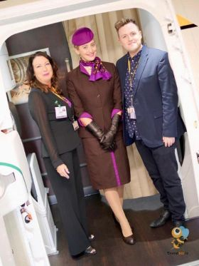 Welcome on board the new Dreamliner, Karen Maloney (Sales Manager Etihad Ireland) with Edwina and Steven Pierce (Etihad)