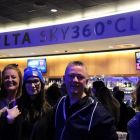 Sarah, Lorraine and Ada (CWT) enjoining the Delta 360 Club Lounge with Frank McCaffrey (Delta Airlines)