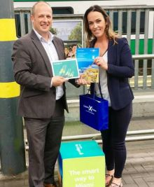 Ivan Beacom (Aer Lingus) presents Caroline O'Toole (Fahy Travel) with her prize.