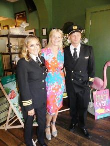 Love is in the air with Aer Lingus. First officers Fiona and Mikkel Bonke who are a husband and wife team flying Aer Lingus A330'S across the Atlantic with Yvonne Muldoon (Sales Director Aer Lingus)