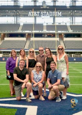 Touchdown, the group on the midway line at the AT&T Dallas Cowboy Stadium