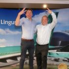 Ivan Beacom and Dermot Lee (Aer Lingus) jumping for joy