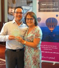 Douglas Hastings with Cathy Burke (GM Travel Counsellors)