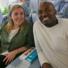 Gina Smyth (Best4Travel) and Anthony Efinda (Club Travel) getting cosy onboard our A330