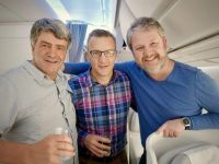 Welcome aboard the new A350! Journalist Eoghan Corry, Andrew Fish (Finnair) and Shane Cullen (TravelBiz)