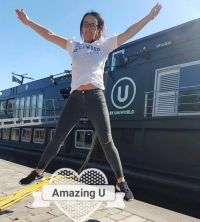 Caroline O'Toole (Fahy Travel Galway) jumps for U by Uniworld