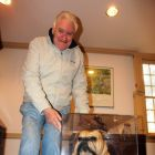 Gerry Benson (Publisher & Editor Travelbiz) with the 'stuffed' Yale dog!
