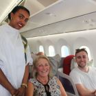 Our delightful Ethiopian Airlines Hostess with Helen Kelly (Platinum Travel) and Lorcan Keegan (Ethiopian Airlines)