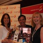 Isabel Harrison and & Declan Power (both Shannon Airport) presenting Marian Benton with her winning prize