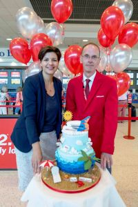 Deborah Harris (Belfast International Airport) and Michael O'Neill (Jet2.com Station Manager)