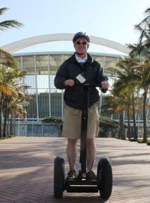 Declan Mescall (Features Editor Travelbiz) in front of Moses Mabhida Stadium Durban