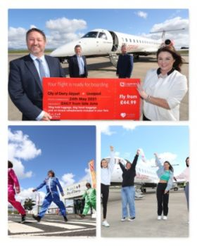 The first flight from City of Derry Airport to Liverpool Airport with Loganair took off this week