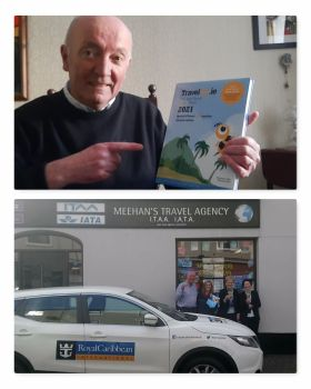 Cormac Meehan with his all new Travelbiz desktop 2021 Diary and happier times with a visit from Royal Caribbean