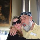 BandanaMan blows a kiss! Marisa Mackle and Jim Murty cosy up!