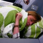 Ah sure would you look, Catherine Grennell-Whyte (GSA Finnair) all tucked in on her lie flat bed.