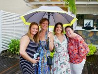 Sheltering from the melting sun in Mauritius.
