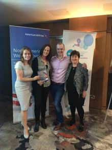 Ciara Foley (Platinum Travel) seen here receiving 2 Business class tickets to anywhere in USA,Canada or Mexico from Caitriona Toner (American Airlines) with Clare Dunne and James Sweetman