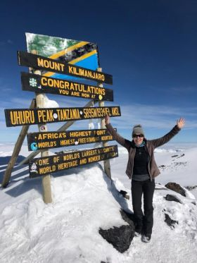 Proud as punch and rightly so, Tanya Airey (Sunway Holidays) reaches the summit