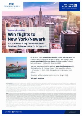 Get booking United Airlines & Princess Cruises now