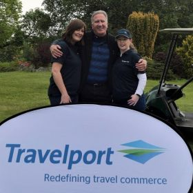 On the course is Tara and Rhona with Don