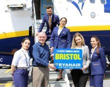 Donal Healy (Ireland West Airport) welcomes new Ryanair service to Bristol.