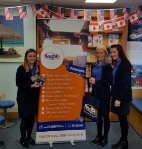 Receiving their gift vouchers for booking Flexible Autos in January are Louise Daly, Adrienne Byrne & Catriona Flemming (all Cassidy Travel, Liffey Street)