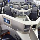 The brand new business class cabin onboard the American Airlines B787 Dreamliner from Chicago to Dublin.
