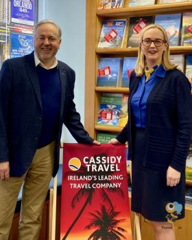 Nicola (Cassidy Travel) with Clem Walshe (MD Local Marketing.ie)