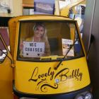 Rachel Devers (Fly Away Travel) hitches a ride in the Lovely Bubbly MSC prosecco wagon.