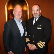 Declan Mescall (Features Editor Travelbiz) with Capt. Tom Connery (Master Queen Victoria)