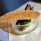 Amuse bouche of smoked vendace, curdled cream with aby rye cracker - yum!