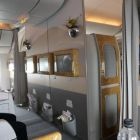 Emirates Business class cabin on board the B777 300 Dublin service to Dubai.