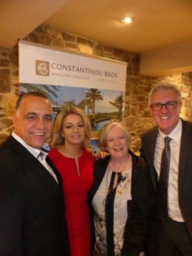 Diomedous Aristos (Constantinou Bros), Mary Denton, Anita Kelly (Sunway Holidays) and Mark Richardson (Sales Manager Constantinou Bros Hotels)