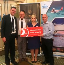 Alper Sea & Onur (Turkish), Katarina Trnikova (J.Barter Travel & winner) and Brian McCarthy (Island Marketing)